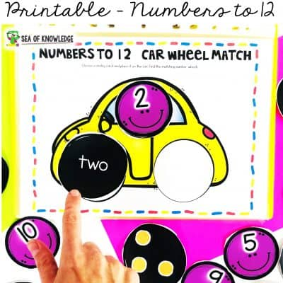 Numbers 1-10 Busy Book Printable Car Wheel Match