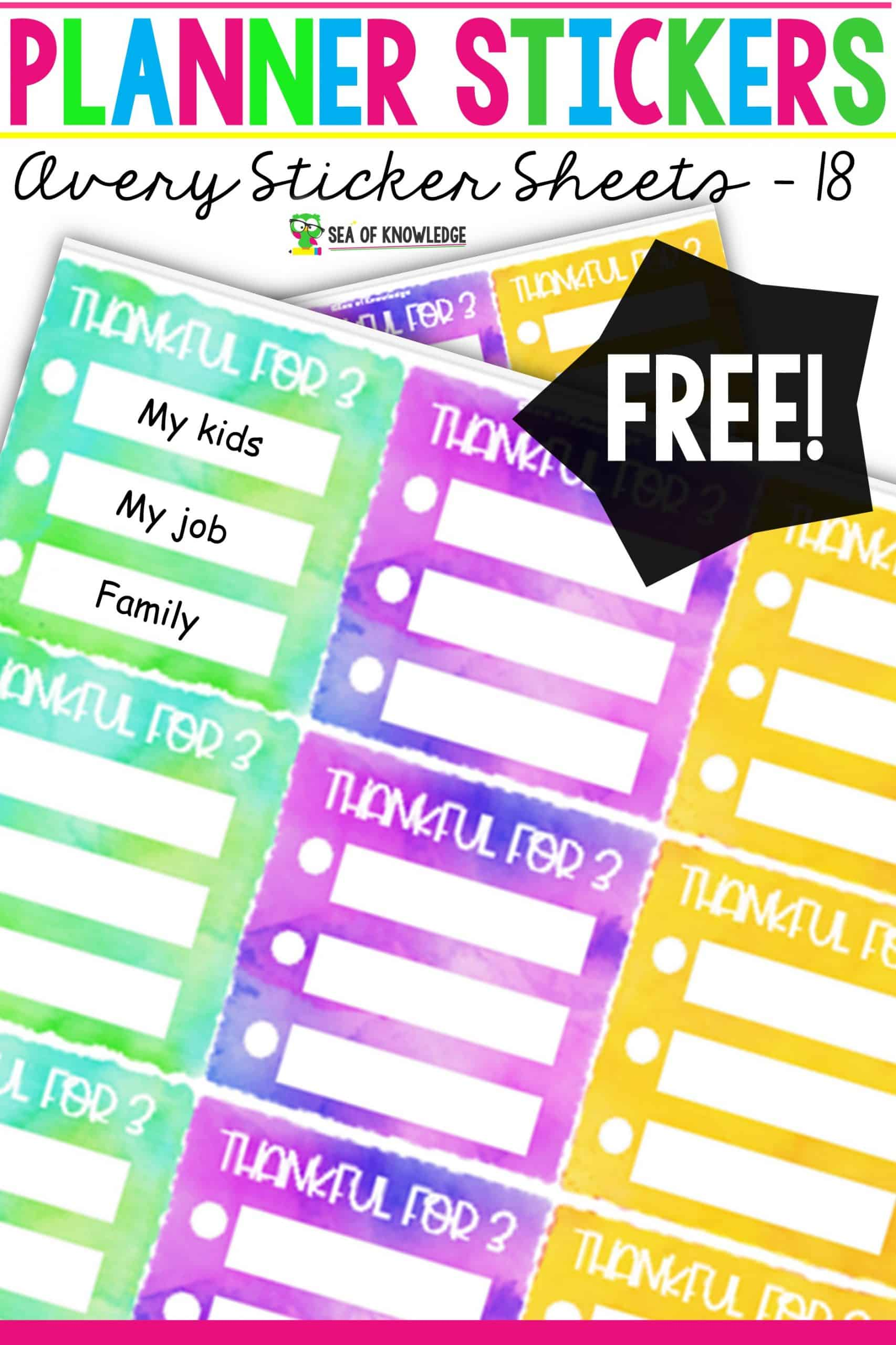 These Grateful Planner Stickers will be a perfect addition to your planners. Do you love using stickers? I do, and I created these super cute stickers to help you stay motivated and grateful everyday. Pick up your free set below!