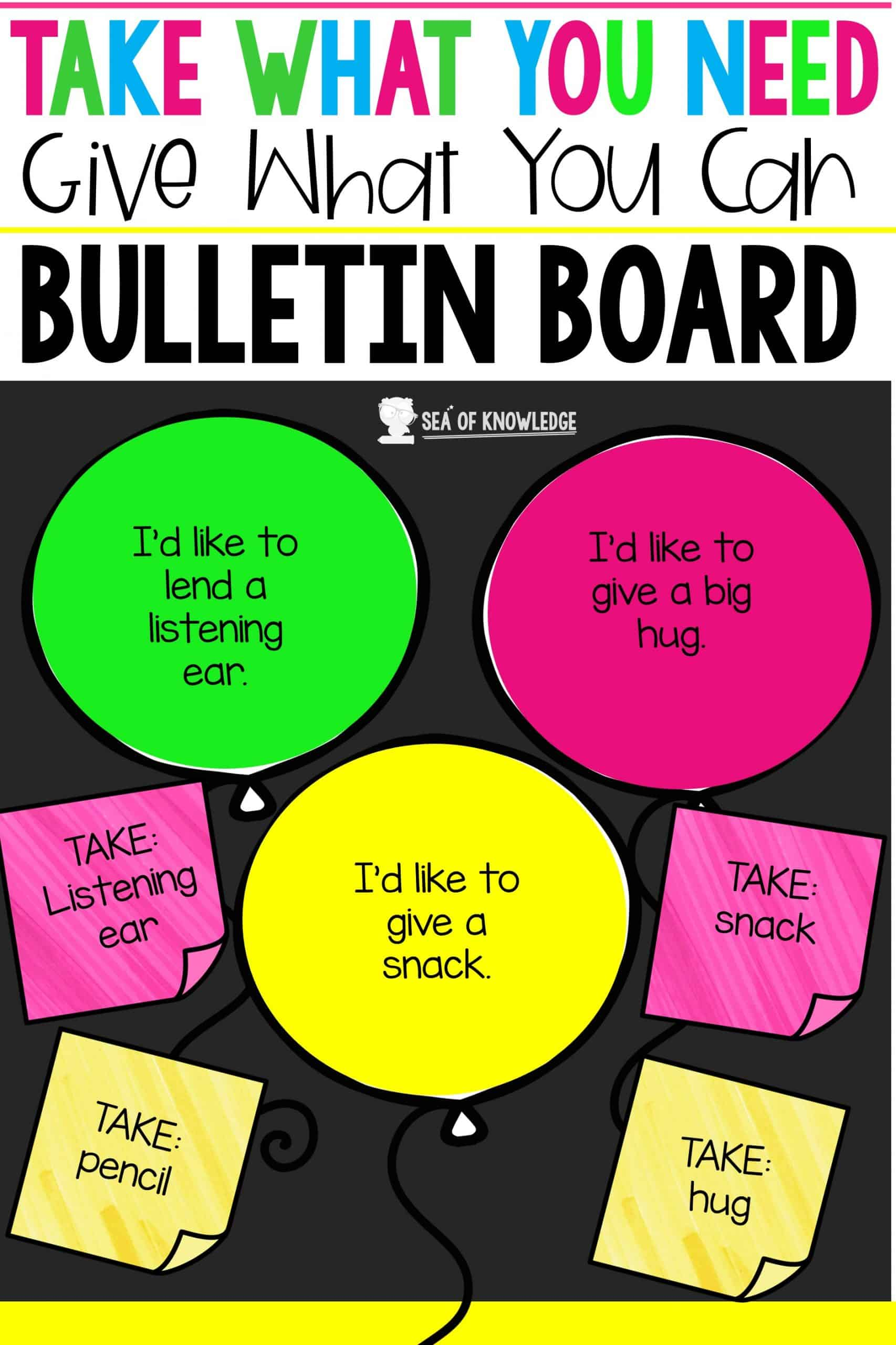 Take What You Need Give What You Can Bulletin Board - Sea of Knowledge With Bulletin Board Template Word
