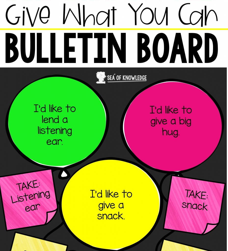 Looking for some super cute Take What You Need Give What You Can Bulletin Board ideas? Look no further, I have a set of fun ideas that you can use right at the start of school or when you return to school. I always find that the beginning of school is a great way to start reinforcing social skills and SEL.