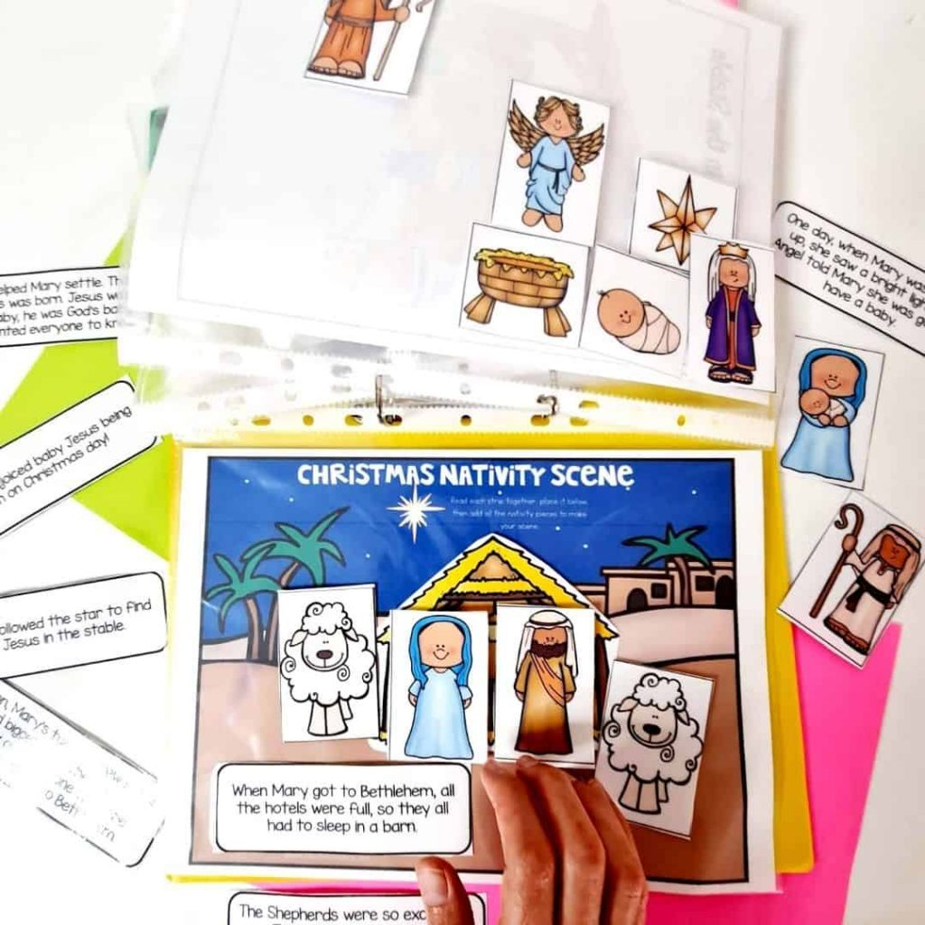 Christmas Nativity Scene story prompts printable busy book page for preschoolers