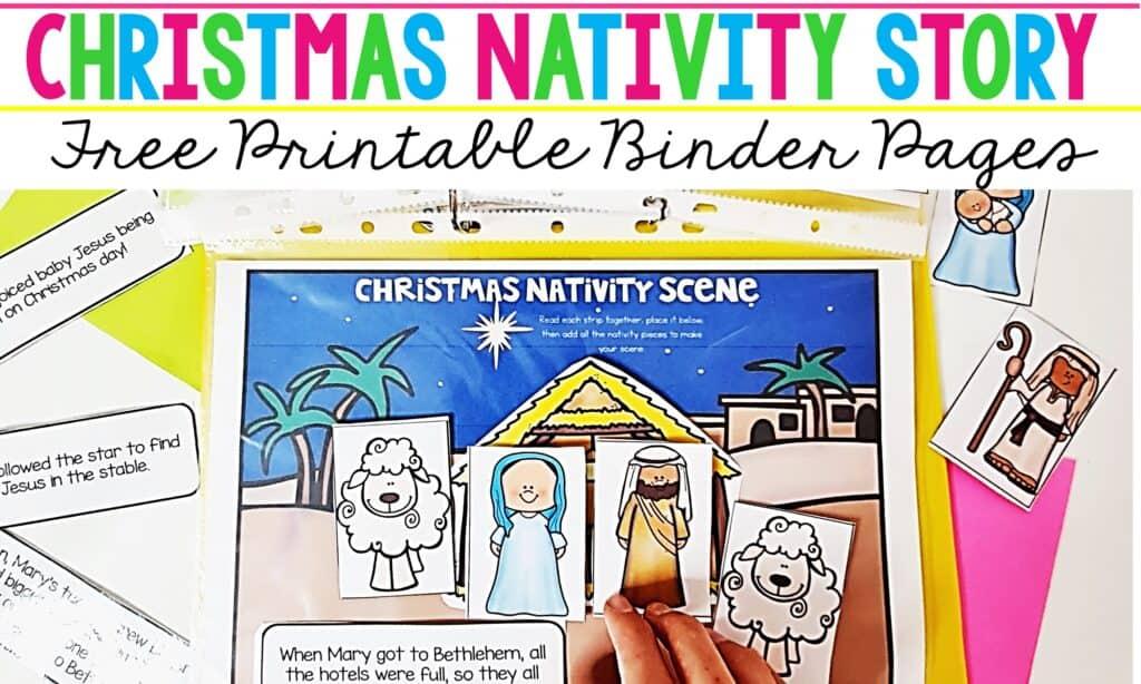 Christmas Nativity Story free printable binder page for preschoolers and kindergarten kids