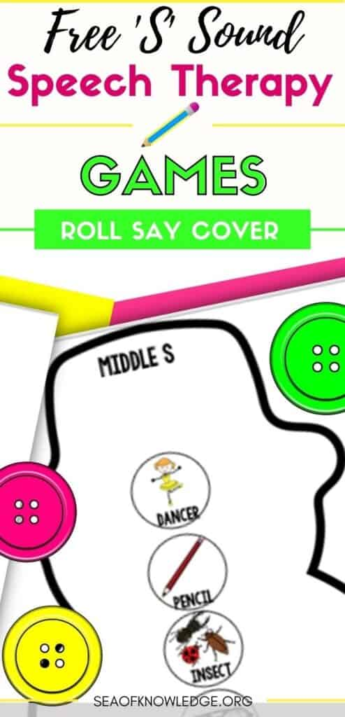 Snowman roll, say and cover is a fun game to play in a group. All you need is dice and some pretty buttons to set this game up. The frequency of /s/ in the English Language is abundant, and in nearly every spontaneous sentence will contain many /s/ sounds. Use these super easy printable game activities to elicit natural speech from the child with extra focus on the /s/ sound.