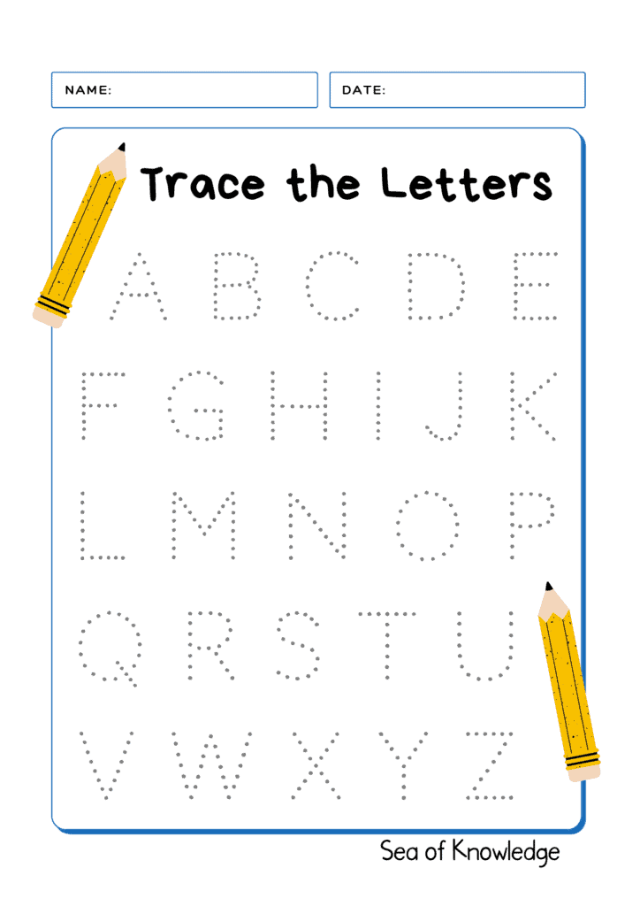 Name Writing Practice with Lines activity sheet. Alphabet tracing worksheet free.