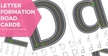letter formation alphabet road cards