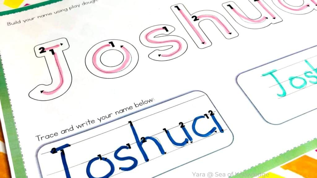 Looking for some easy to use name tracing with lines for preschool or homeschool? These printables and ideas will work to support fine motor skills and hand-eye coordination in kids between the ages of 2-5.