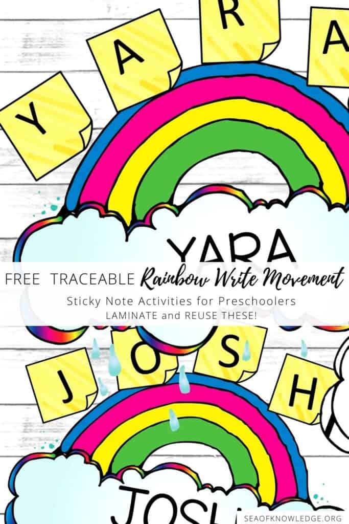 Preschool is such a fun time for kids learning to write. They need plenty of practice on fine motor and prewriting skills. Find a SUPER fun printable activity below which will defintely intrigue all children PLUS it includes a way for kids to burn energy around the room. What better way to burn energy and learn than by creating a fun rainbow write movement activity for preschool?