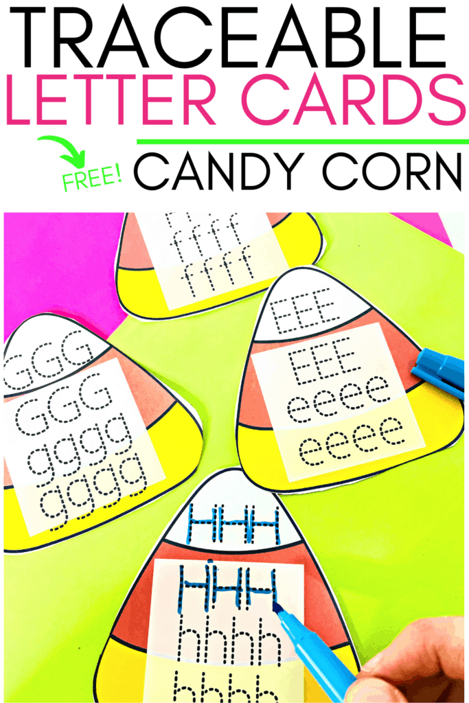 Kids will have so much fun learning their alphabet letter writing formation with these simple, no prep printable Traceable Letters Cards Candy Corn theme.